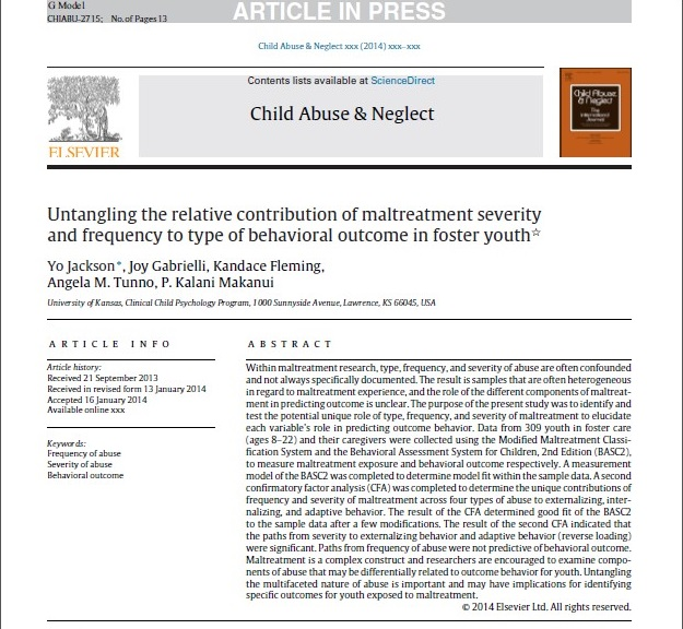Child Abuse and Neglect Paper